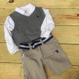 Cherokee Button Down Sweater Vest Short Set 2t
